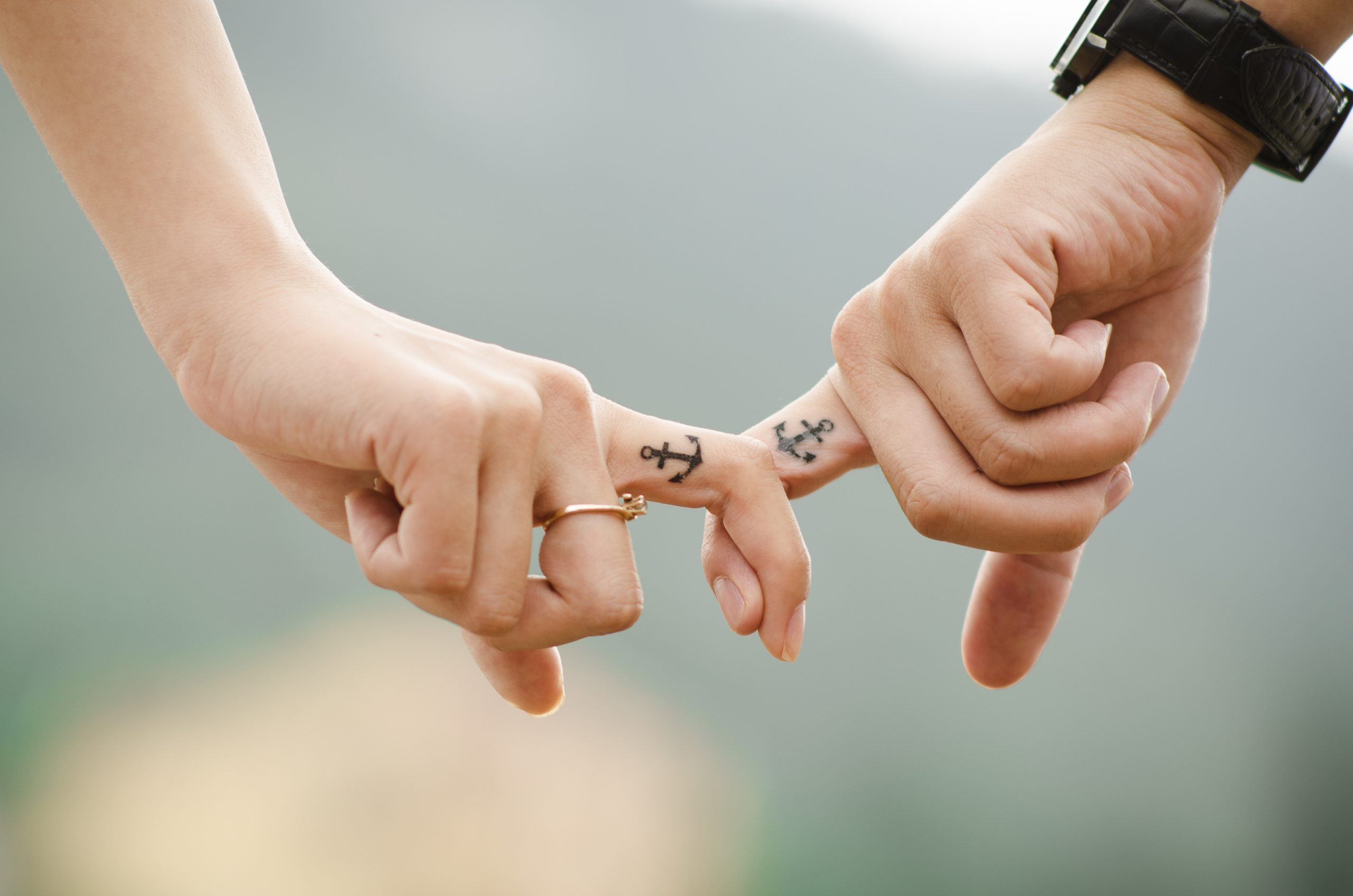 couple, hands, tattoos