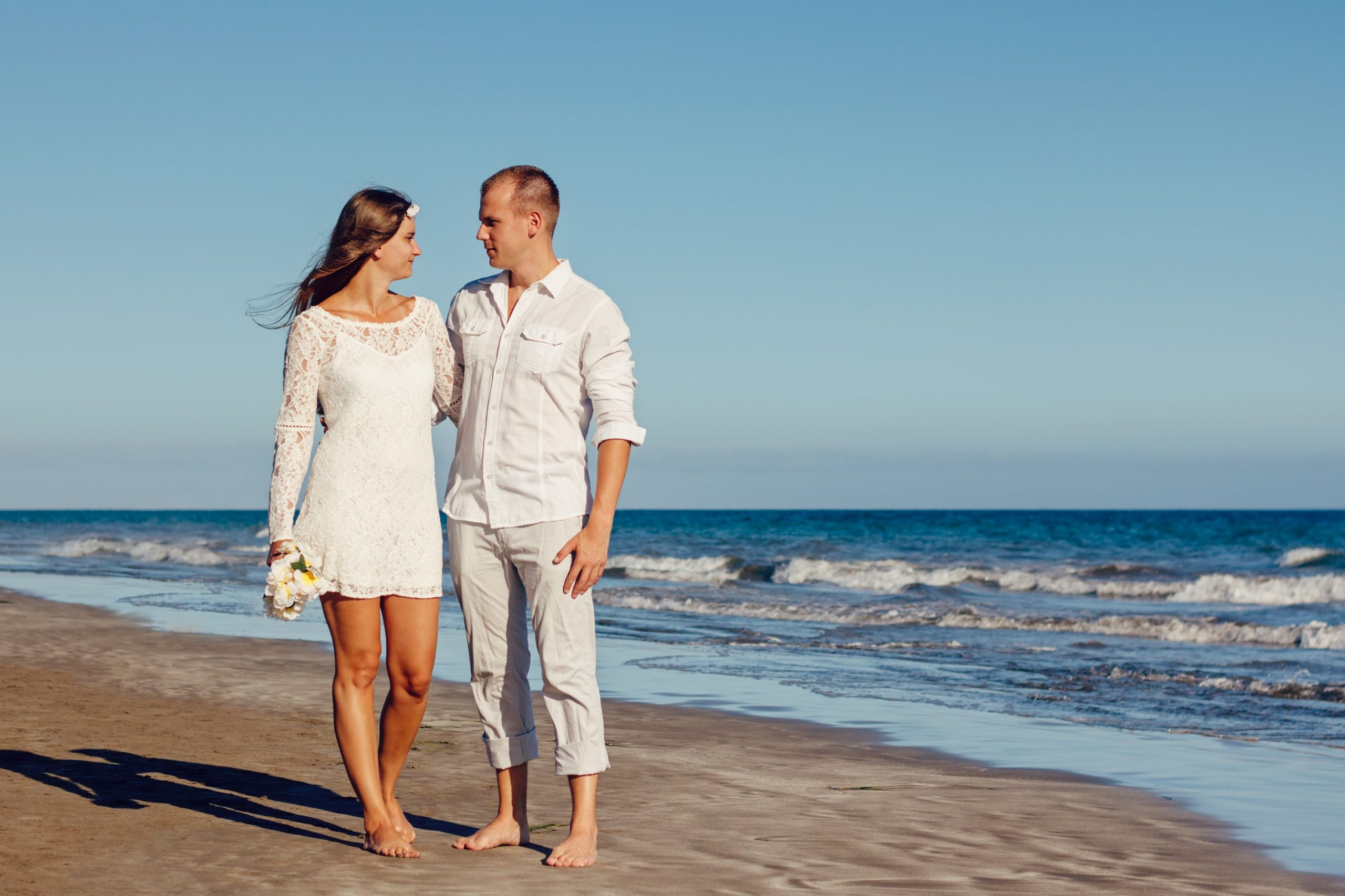 wedding, beach, young couple