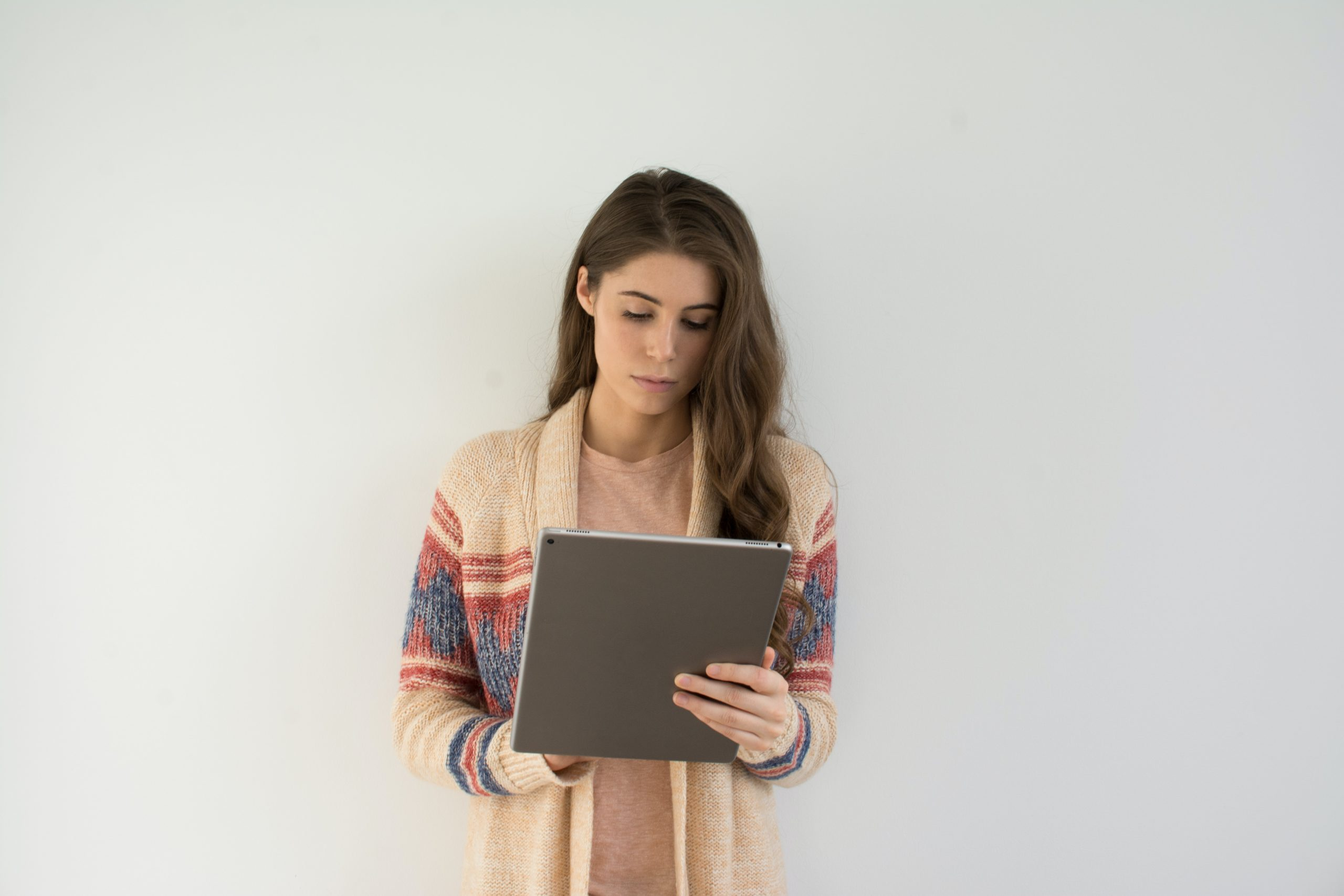 Woman on computer doing business